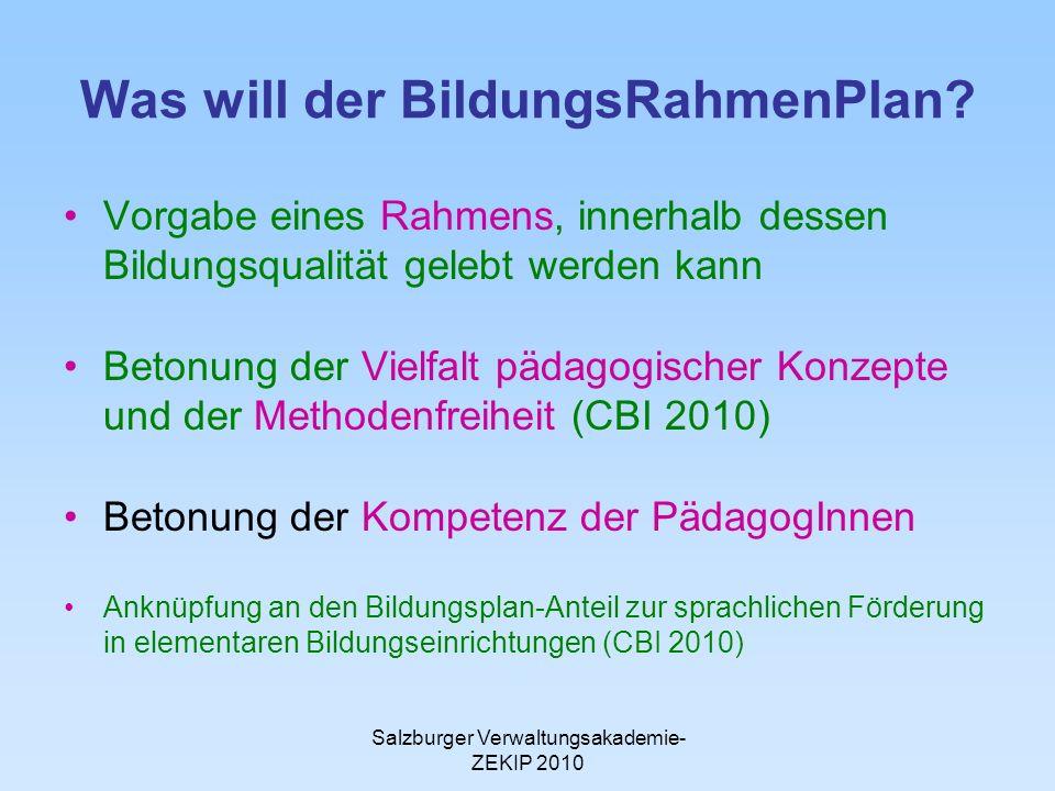 Salzburger Verwaltungsakademie- ZEKIP 2010 Was will der BildungsRahmenPlan.
