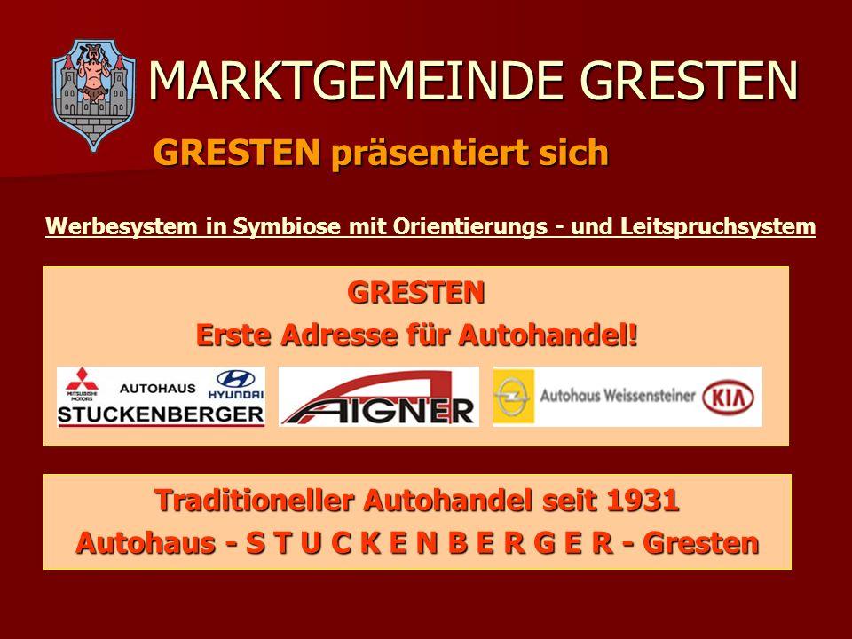 MARKTGEMEINDE GRESTEN GRESTEN präsentiert sich Werbesystem in Symbiose mit Orientierungs - und Leitspruchsystem GRESTEN Erste Adresse für Autohandel!