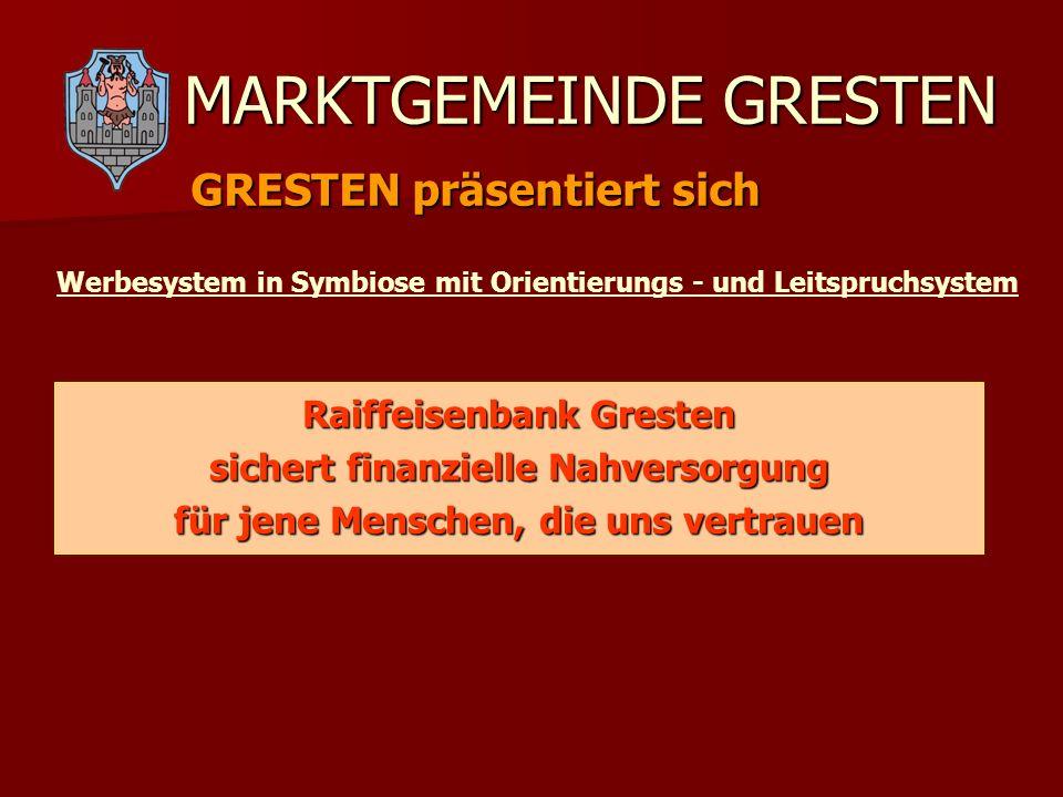 MARKTGEMEINDE GRESTEN GRESTEN präsentiert sich Werbesystem in Symbiose mit Orientierungs - und Leitspruchsystem Raiffeisenbank Gresten sichert finanzi