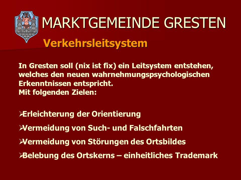 MARKTGEMEINDE GRESTEN Verkehrsleitsystem Im Leitfaden des Landes Niederösterreich zur Gestaltung innerörtlicher Orientierungssysteme wird eine Trennung zwischen Orientierungs- und Werbeinformationen (touristische, gewerbliche Leitschilder) empfohlen - sie sollen sich nicht konkurrenzieren, sondern ergänzen.