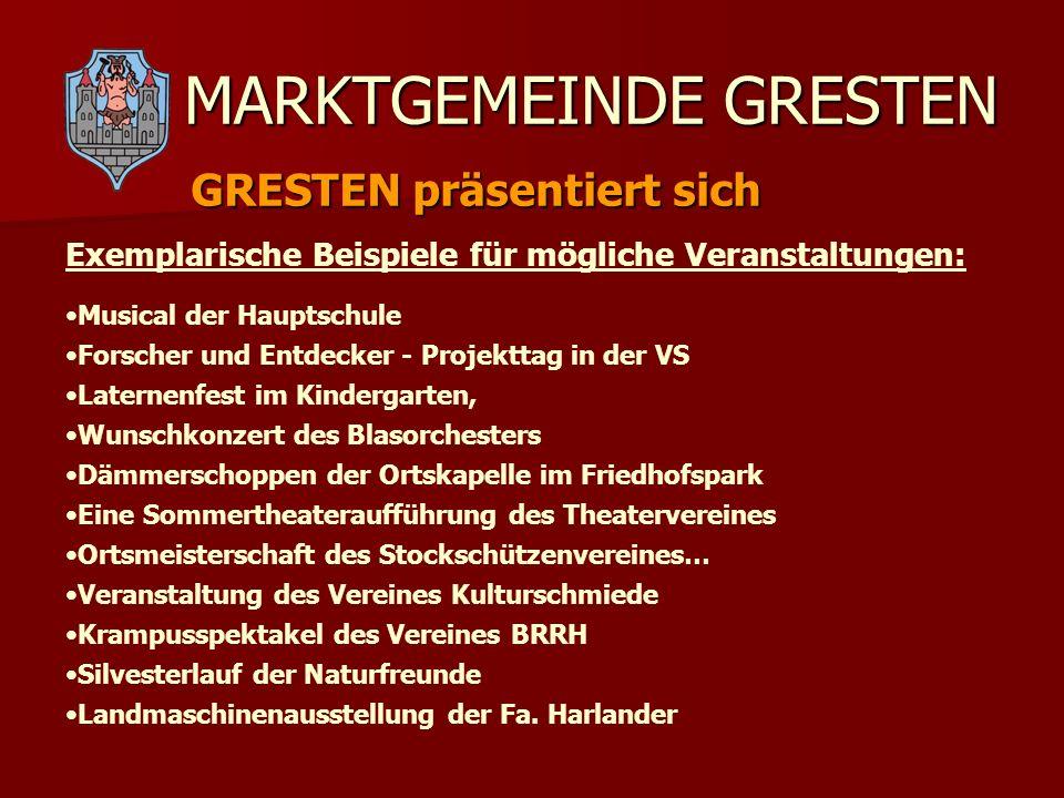 MARKTGEMEINDE GRESTEN GRESTEN präsentiert sich Musical der Hauptschule Forscher und Entdecker - Projekttag in der VS Laternenfest im Kindergarten, Wun