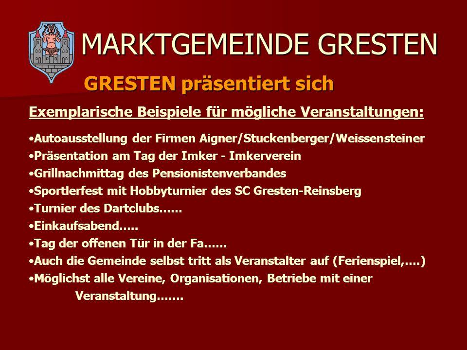 MARKTGEMEINDE GRESTEN GRESTEN präsentiert sich Autoausstellung der Firmen Aigner/Stuckenberger/Weissensteiner Präsentation am Tag der Imker - Imkerver