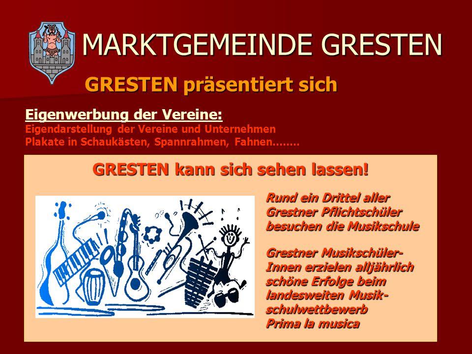 MARKTGEMEINDE GRESTEN GRESTEN präsentiert sich Eigenwerbung der Vereine: Eigendarstellung der Vereine und Unternehmen Plakate in Schaukästen, Spannrah
