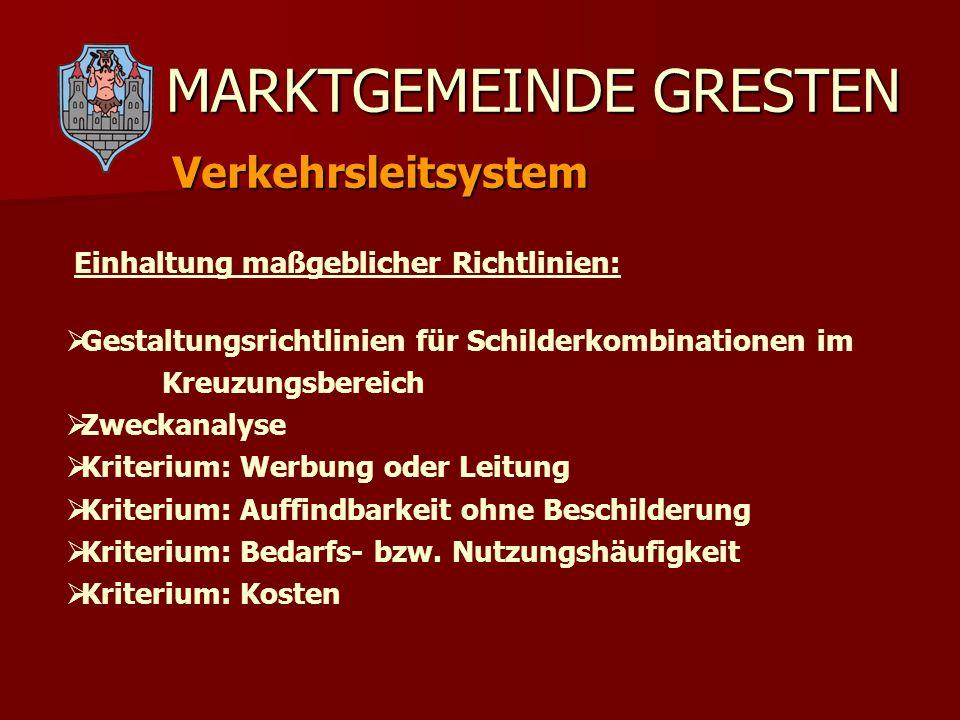 MARKTGEMEINDE GRESTEN Verkehrsleitsystem Einhaltung maßgeblicher Richtlinien: Gestaltungsrichtlinien für Schilderkombinationen im Kreuzungsbereich Zwe