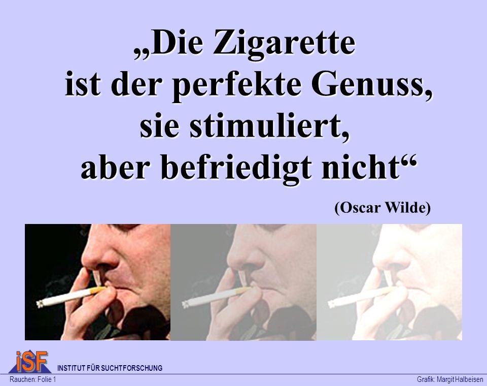 Die Zigarette ist der perfekte Genuss, sie stimuliert, aber befriedigt nicht (Oscar Wilde) Rauchen: Folie 1Grafik: Margit Halbeisen INSTITUT FÜR SUCHT