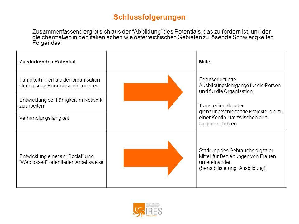 Schlussfolgerungen Zu stärkendes PotentialMittel Fähigkeit innerhalb der Organisation strategische Bündnisse einzugehen Berufsorientierte Ausbildungsl