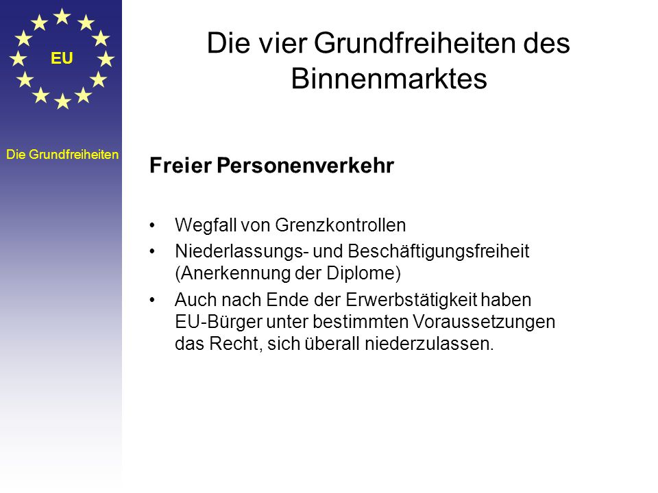 EU Die Grundfreiheiten Die vier Grundfreiheiten des Binnenmarktes Freier Warenverkehr Verbot von Ein -und Ausfuhrzöllen zwischen den Mitgliedstaaten H
