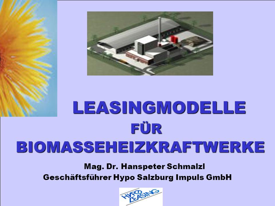 LEASINGMODELLE FÜR BIOMASSEHEIZKRAFTWERKE LEASINGMODELLE FÜR BIOMASSEHEIZKRAFTWERKE Mag. Dr. Hanspeter Schmalzl Geschäftsführer Hypo Salzburg Impuls G