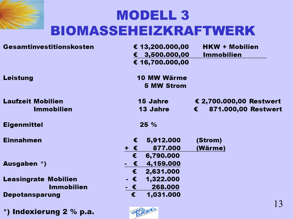 MODELL 3 BIOMASSEHEIZKRAFTWERK Gesamtinvestitionskosten 13,200.000,00 HKW + Mobilien 3,500.000,00 Immobilien 16,700.000,00 Leistung 10 MW Wärme 5 MW S