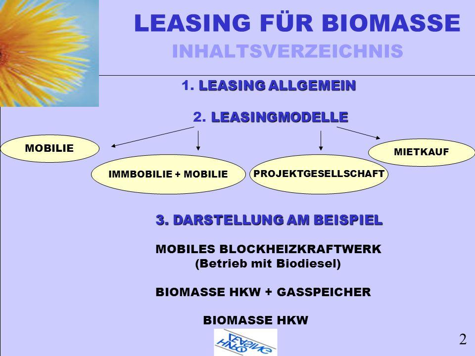 LEASING FÜR BIOMASSE INHALTSVERZEICHNIS LEASING ALLGEMEIN 1. LEASING ALLGEMEIN LEASINGMODELLE 2. LEASINGMODELLE 3. DARSTELLUNG AM BEISPIEL 3. DARSTELL