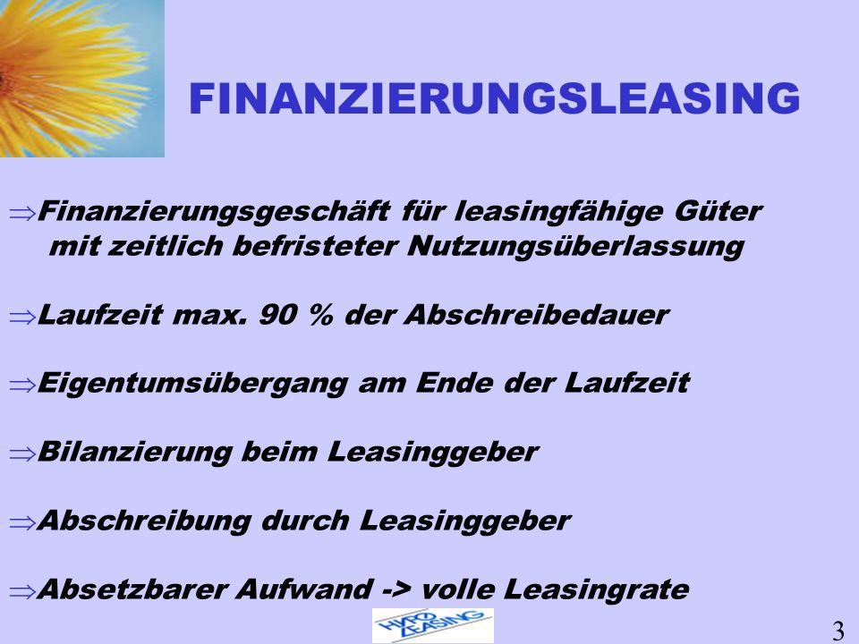 Finanzierungsgeschäft für leasingfähige Güter mit zeitlich befristeter Nutzungsüberlassung Laufzeit max. 90 % der Abschreibedauer Eigentumsübergang am