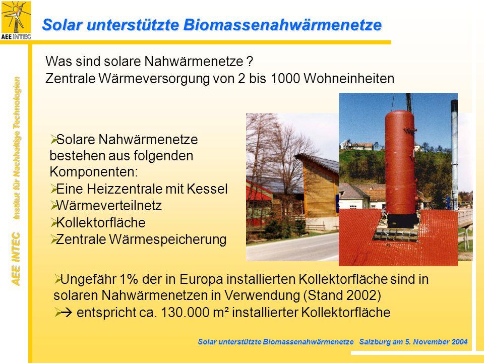 AEE INTEC Institut für Nachhaltige Technologien Solar unterstützte Biomassenahwärmenetze Salzburg am 5. November 2004 Ungefähr 1% der in Europa instal
