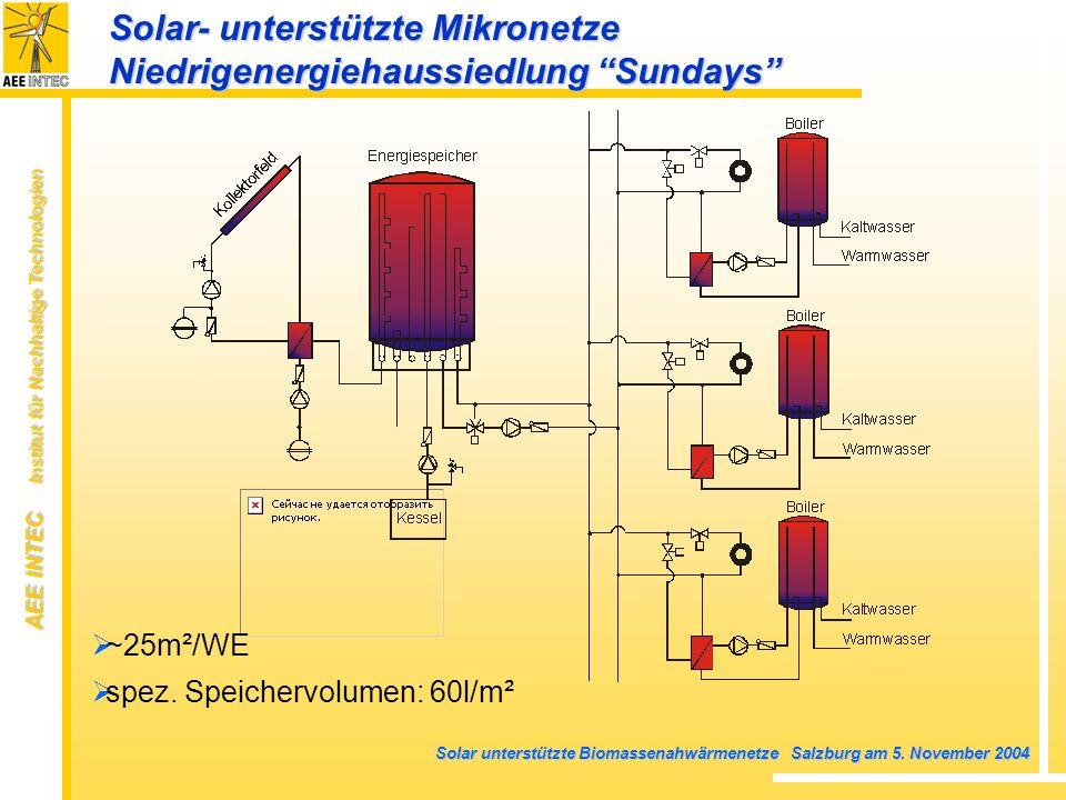 AEE INTEC Institut für Nachhaltige Technologien Solar unterstützte Biomassenahwärmenetze Salzburg am 5. November 2004 ~25m²/WE spez. Speichervolumen: