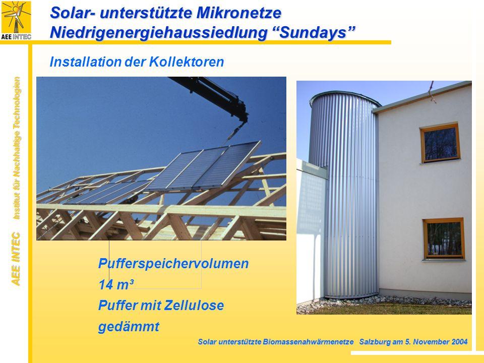 AEE INTEC Institut für Nachhaltige Technologien Solar unterstützte Biomassenahwärmenetze Salzburg am 5. November 2004 Installation der Kollektoren Puf