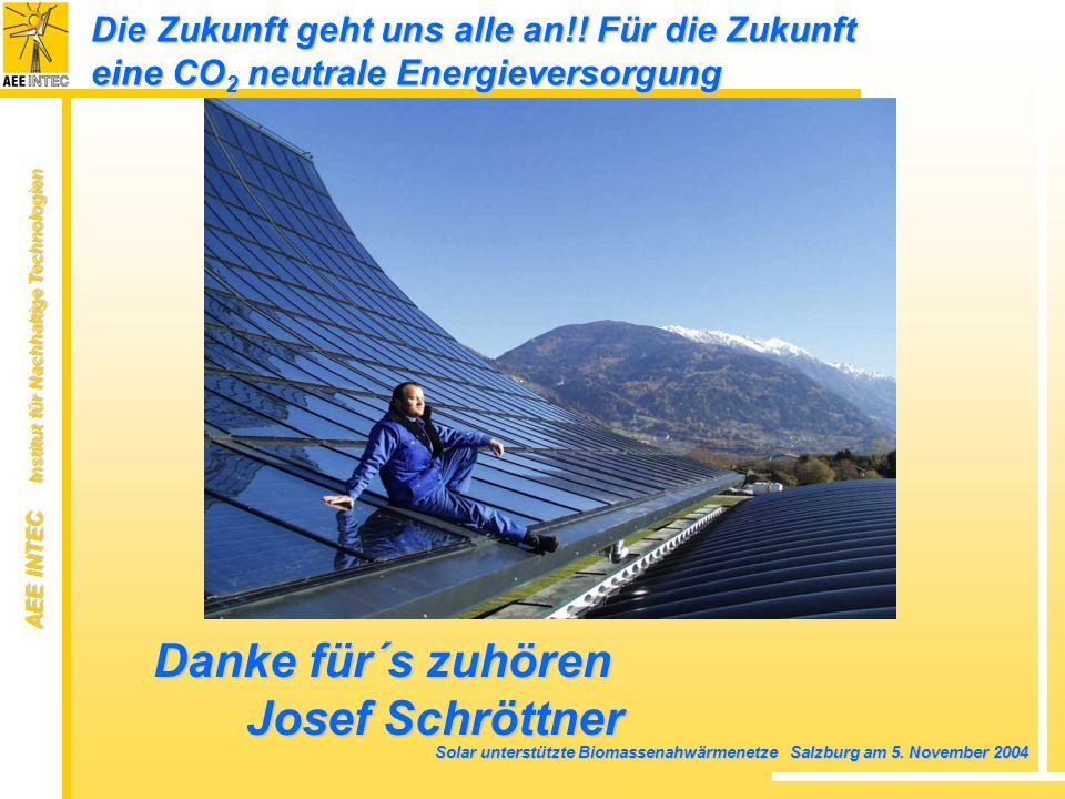 AEE INTEC Institut für Nachhaltige Technologien Solar unterstützte Biomassenahwärmenetze Salzburg am 5. November 2004 Die Zukunft geht uns alle an!! F