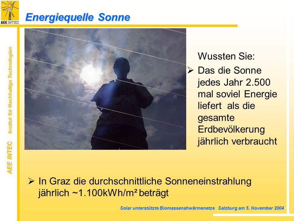 AEE INTEC Institut für Nachhaltige Technologien Solar unterstützte Biomassenahwärmenetze Salzburg am 5. November 2004 Energiequelle Sonne In Graz die