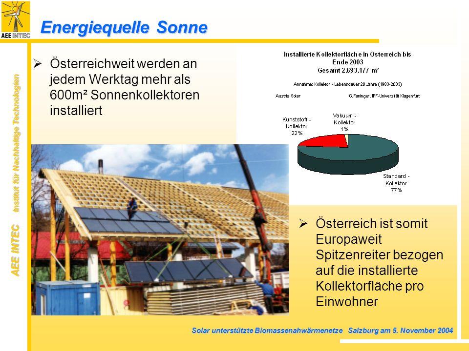 AEE INTEC Institut für Nachhaltige Technologien Solar unterstützte Biomassenahwärmenetze Salzburg am 5. November 2004 Energiequelle Sonne Österreichwe