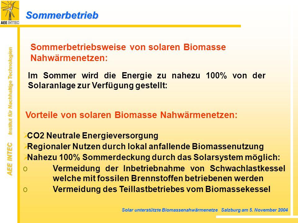 AEE INTEC Institut für Nachhaltige Technologien Solar unterstützte Biomassenahwärmenetze Salzburg am 5. November 2004 Sommerbetriebsweise von solaren