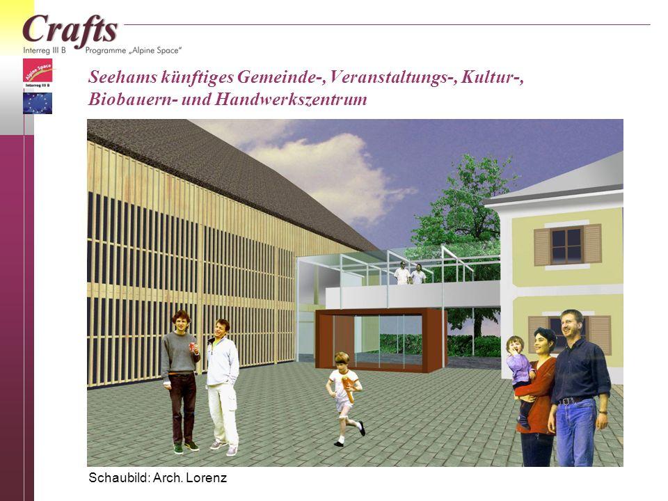 Das künftige Seehamer Gemeindezentrum im Sommer 2005 Die Sanierung des Inneren des Schmiedbauernhauses, der Umbau des Stallgebäudes und die Gestaltung der Außenanlagen im Dorfzentrum werden durch die Gemeinde Seeham und die Arbeitsgruppe weitergeführt.