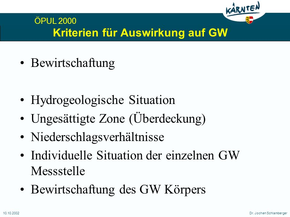 ÖPUL 2000 10.10.2002Dr. Jochen Schlamberger Kriterien für Auswirkung auf GW Bewirtschaftung Hydrogeologische Situation Ungesättigte Zone (Überdeckung)