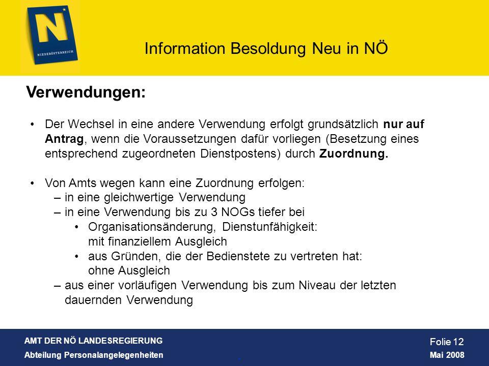 AMT DER NÖ LANDESREGIERUNG Abteilung Personalangelegenheiten Mai 2008 Information Besoldung Neu in NÖ Folie 12 Verwendungen: Der Wechsel in eine ander