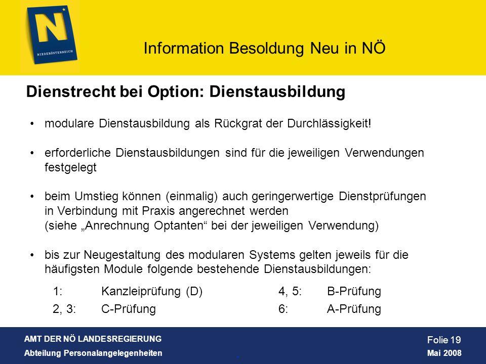 AMT DER NÖ LANDESREGIERUNG Abteilung Personalangelegenheiten Mai 2008 Information Besoldung Neu in NÖ Folie 19 Dienstrecht bei Option: Dienstausbildun