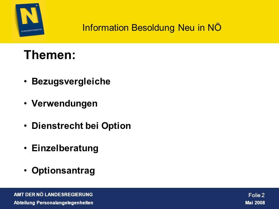AMT DER NÖ LANDESREGIERUNG Abteilung Personalangelegenheiten Mai 2008 Information Besoldung Neu in NÖ Folie 13 Was bleibt unverändert.