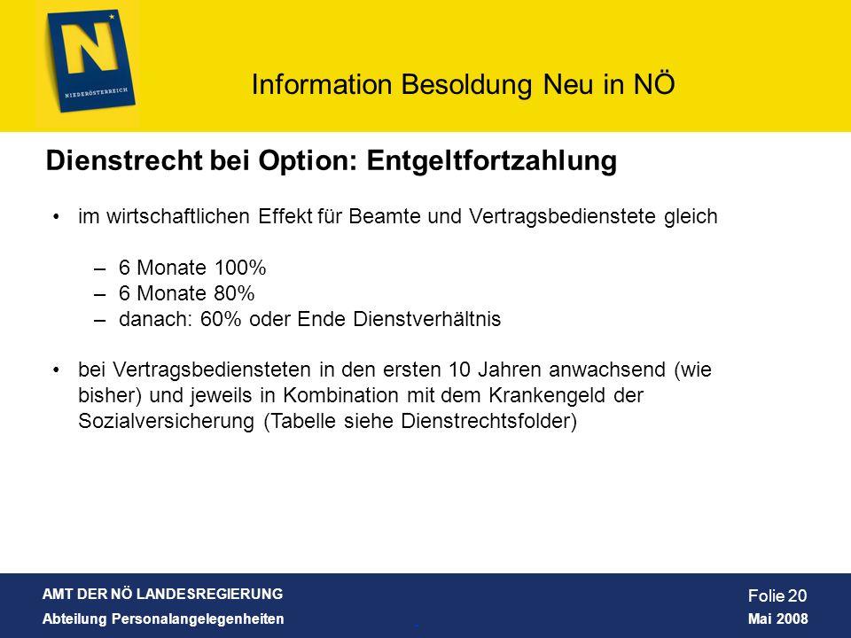 AMT DER NÖ LANDESREGIERUNG Abteilung Personalangelegenheiten Mai 2008 Information Besoldung Neu in NÖ Folie 20 Dienstrecht bei Option: Entgeltfortzahl