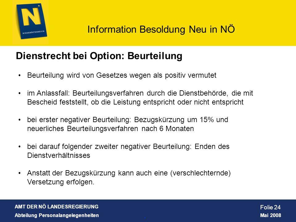 AMT DER NÖ LANDESREGIERUNG Abteilung Personalangelegenheiten Mai 2008 Information Besoldung Neu in NÖ Folie 24 Dienstrecht bei Option: Beurteilung Beu