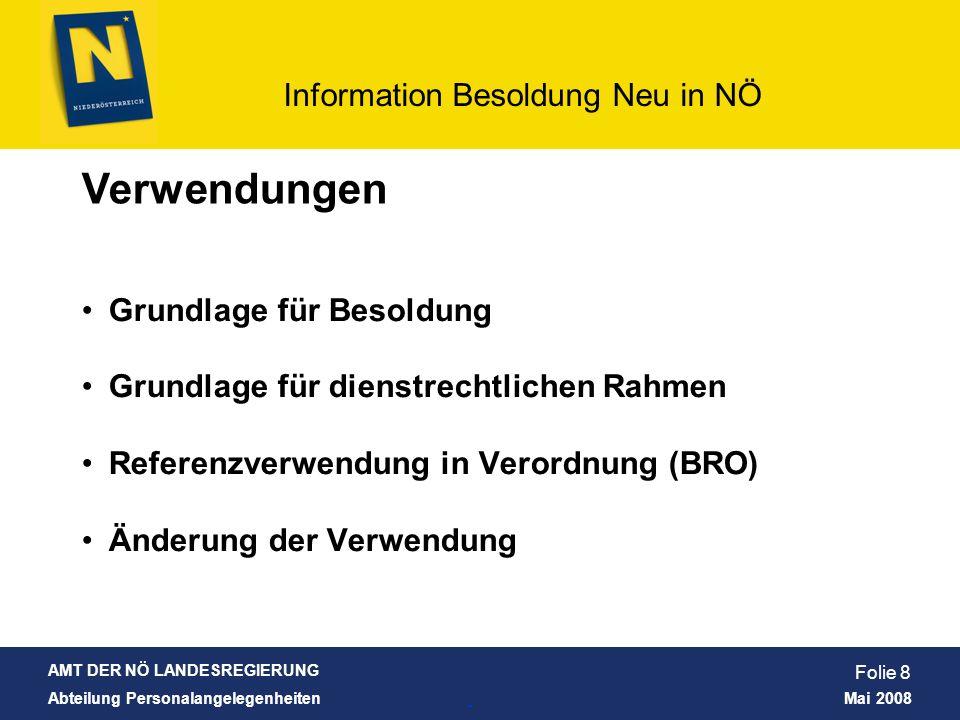 AMT DER NÖ LANDESREGIERUNG Abteilung Personalangelegenheiten Mai 2008 Information Besoldung Neu in NÖ Folie 9 Verwendungen: für jeden Dienstposten wurde bei den Zuordnungsgesprächen eine Verwendung festgelegt sowie festgelegt, wem der Dienstposten gehört bzw.