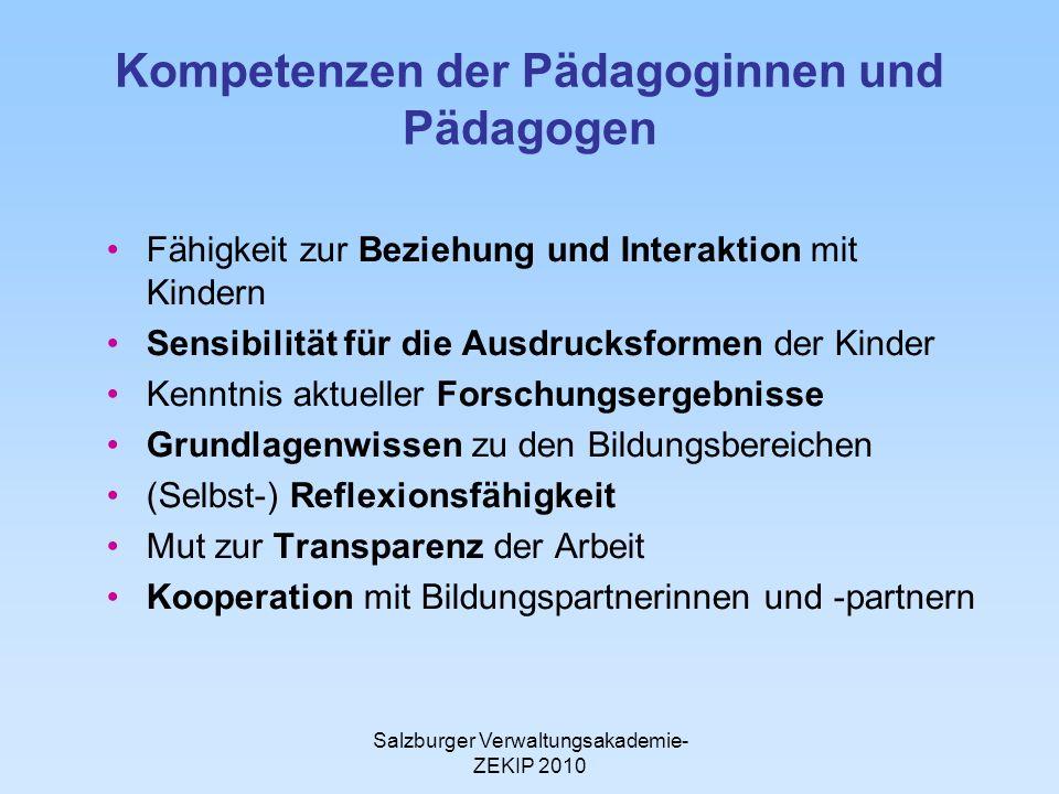 Salzburger Verwaltungsakademie- ZEKIP 2010 Kompetenzen der Pädagoginnen und Pädagogen Fähigkeit zur Beziehung und Interaktion mit Kindern Sensibilität