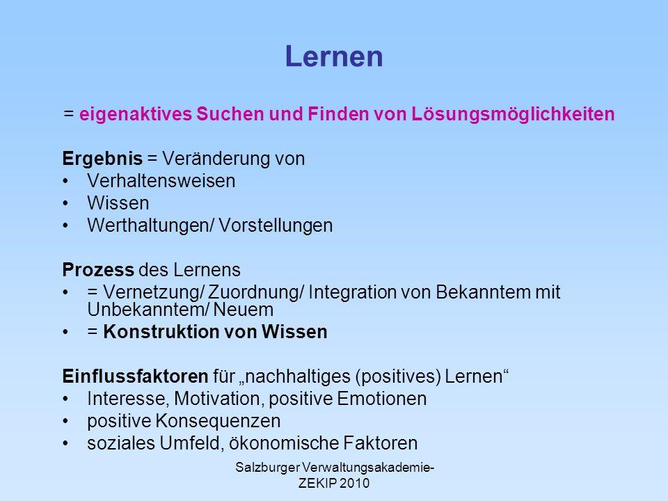 Salzburger Verwaltungsakademie- ZEKIP 2010 Lernen = eigenaktives Suchen und Finden von Lösungsmöglichkeiten Ergebnis = Veränderung von Verhaltensweise