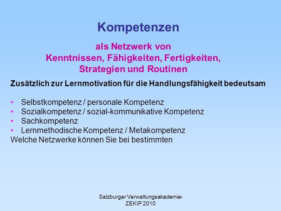 Salzburger Verwaltungsakademie- ZEKIP 2010 Kompetenzen Zusätzlich zur Lernmotivation für die Handlungsfähigkeit bedeutsam Selbstkompetenz / personale