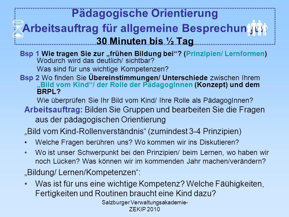 Salzburger Verwaltungsakademie- ZEKIP 2010 Pädagogische Orientierung Arbeitsauftrag für allgemeine Besprechungen 30 Minuten bis ½ Tag Bsp 1 Wie tragen