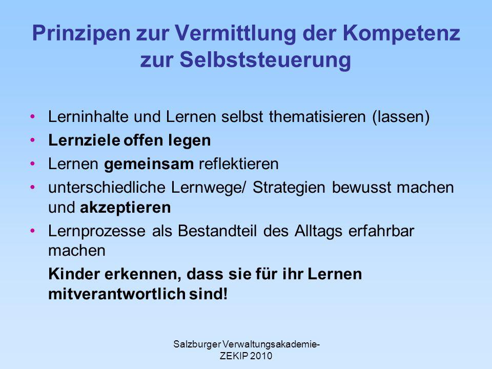 Salzburger Verwaltungsakademie- ZEKIP 2010 Prinzipen zur Vermittlung der Kompetenz zur Selbststeuerung Lerninhalte und Lernen selbst thematisieren (la
