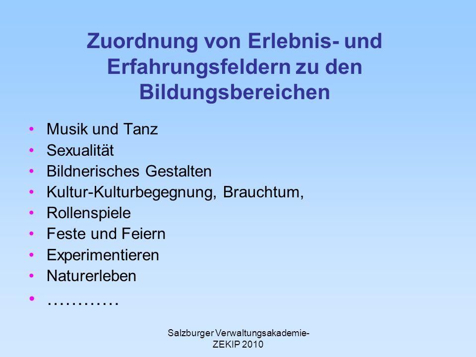 Salzburger Verwaltungsakademie- ZEKIP 2010 Zuordnung von Erlebnis- und Erfahrungsfeldern zu den Bildungsbereichen Musik und Tanz Sexualität Bildnerisc