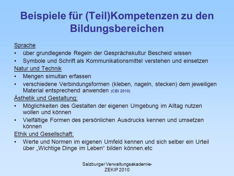 Salzburger Verwaltungsakademie- ZEKIP 2010 Beispiele für (Teil)Kompetenzen zu den Bildungsbereichen Sprache über grundlegende Regeln der Gesprächskult