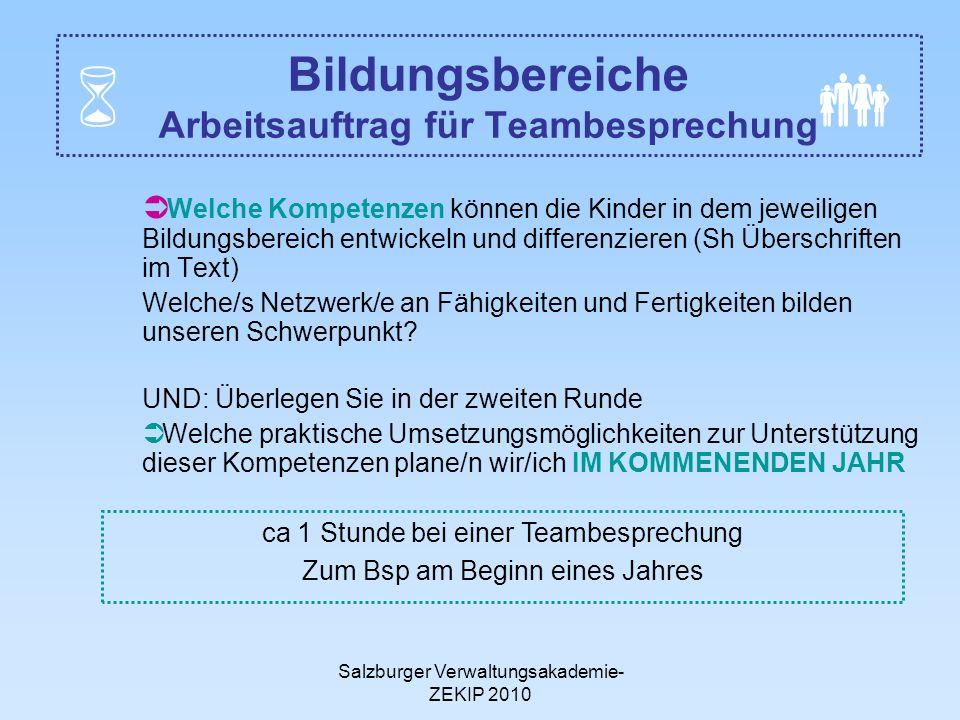Salzburger Verwaltungsakademie- ZEKIP 2010 Bildungsbereiche Arbeitsauftrag für Teambesprechung Welche Kompetenzen können die Kinder in dem jeweiligen
