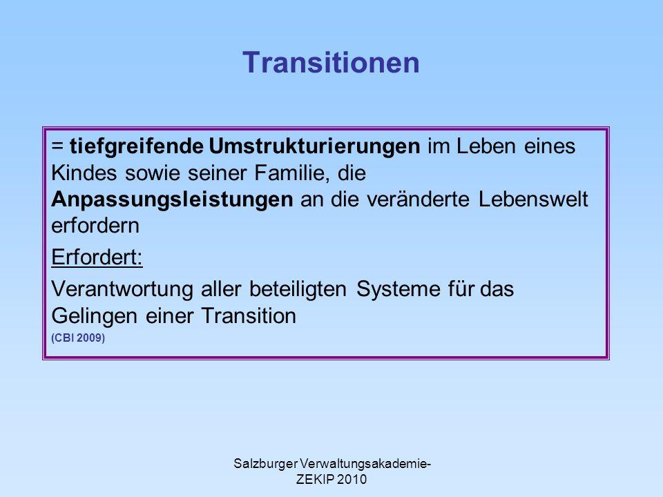 Salzburger Verwaltungsakademie- ZEKIP 2010 Transitionen = tiefgreifende Umstrukturierungen im Leben eines Kindes sowie seiner Familie, die Anpassungsl