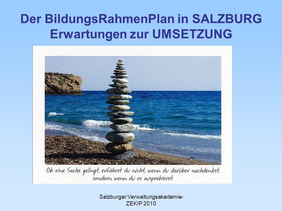 Salzburger Verwaltungsakademie- ZEKIP 2010 Der BildungsRahmenPlan in SALZBURG Erwartungen zur UMSETZUNG