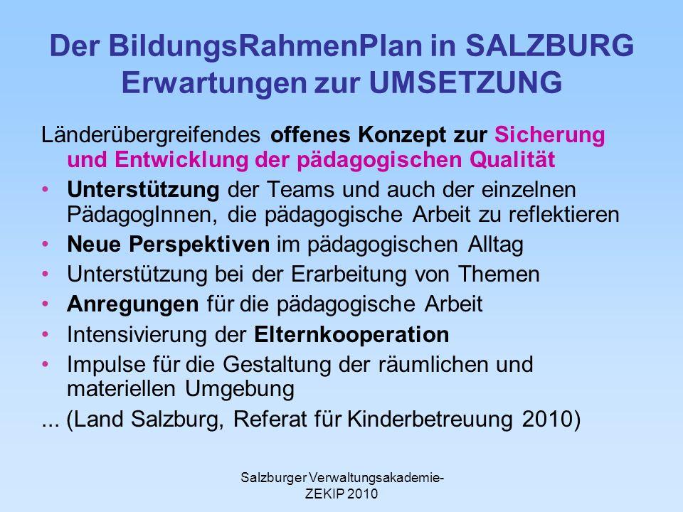 Salzburger Verwaltungsakademie- ZEKIP 2010 Der BildungsRahmenPlan in SALZBURG Erwartungen zur UMSETZUNG Länderübergreifendes offenes Konzept zur Siche