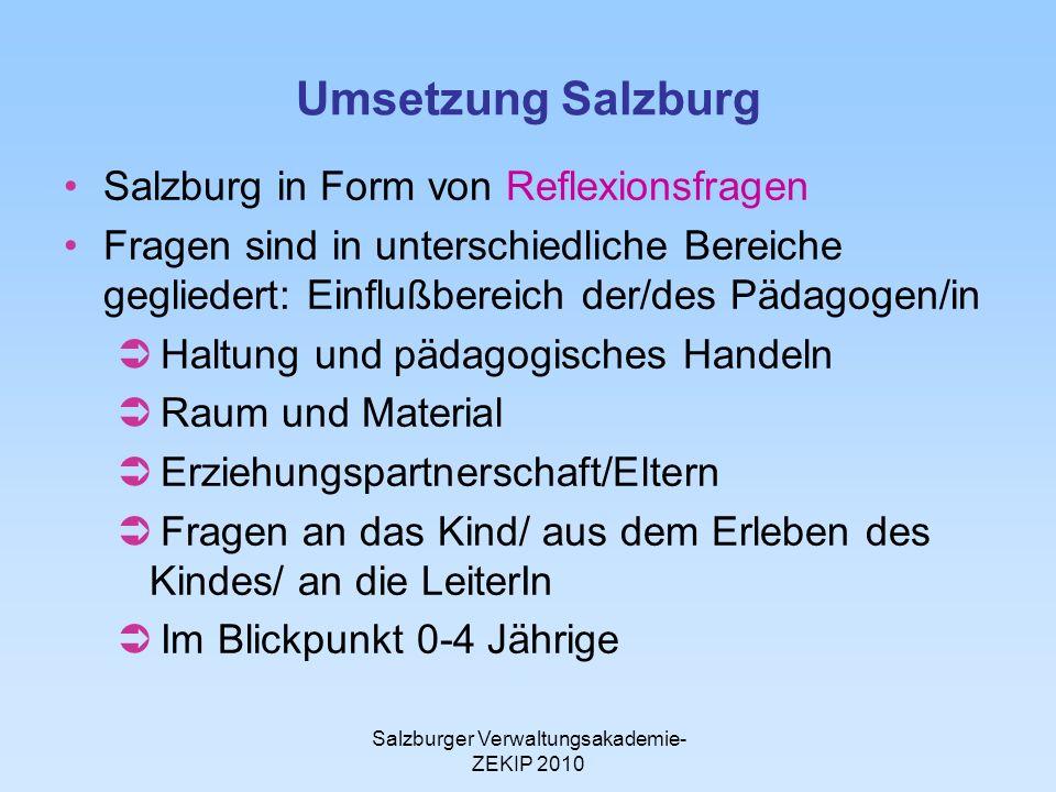 Salzburger Verwaltungsakademie- ZEKIP 2010 Umsetzung Salzburg Salzburg in Form von Reflexionsfragen Fragen sind in unterschiedliche Bereiche geglieder