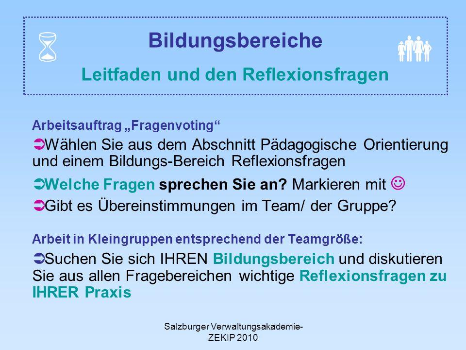 Salzburger Verwaltungsakademie- ZEKIP 2010 Bildungsbereiche Leitfaden und den Reflexionsfragen Arbeitsauftrag Fragenvoting Wählen Sie aus dem Abschnit