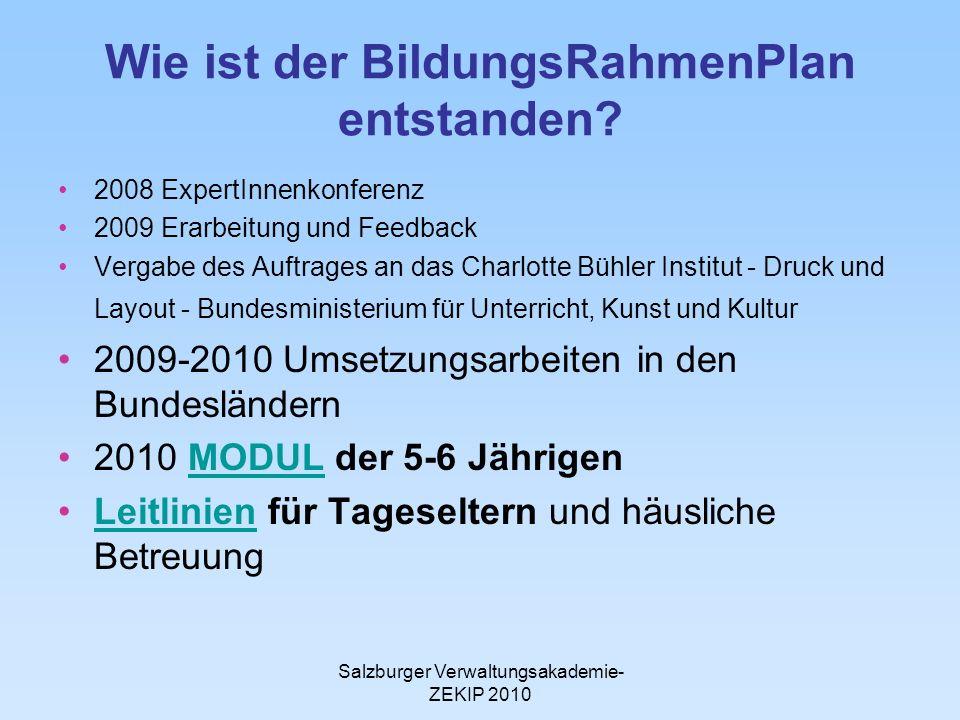 Salzburger Verwaltungsakademie- ZEKIP 2010 Wie ist der BildungsRahmenPlan entstanden? 2008 ExpertInnenkonferenz 2009 Erarbeitung und Feedback Vergabe