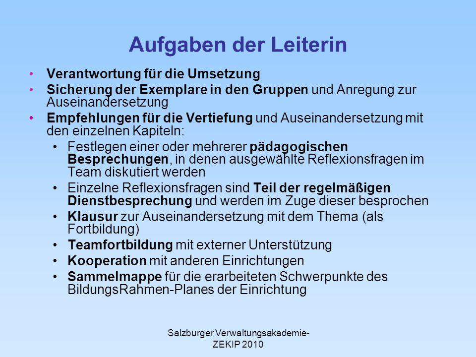 Salzburger Verwaltungsakademie- ZEKIP 2010 Aufgaben der Leiterin Verantwortung für die Umsetzung Sicherung der Exemplare in den Gruppen und Anregung z
