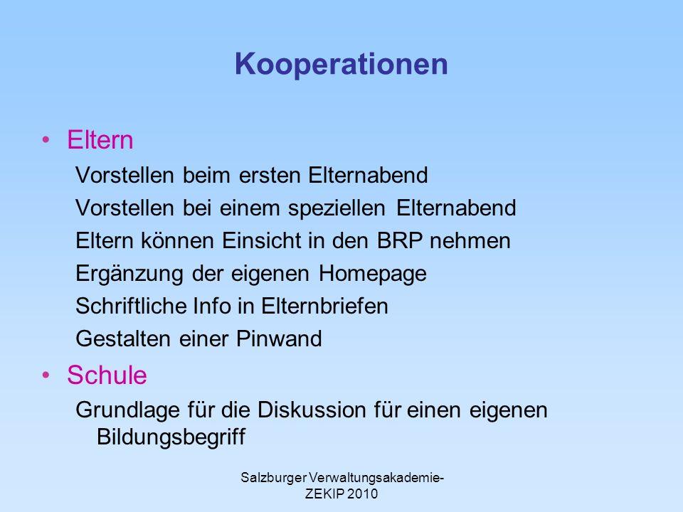 Salzburger Verwaltungsakademie- ZEKIP 2010 Kooperationen Eltern Vorstellen beim ersten Elternabend Vorstellen bei einem speziellen Elternabend Eltern