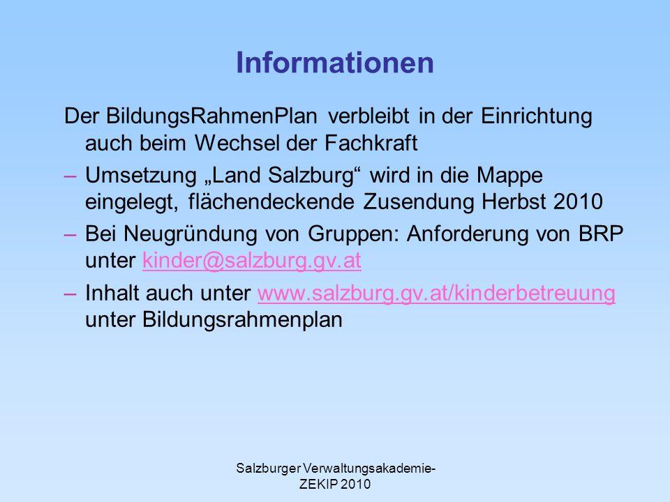 Salzburger Verwaltungsakademie- ZEKIP 2010 Informationen Der BildungsRahmenPlan verbleibt in der Einrichtung auch beim Wechsel der Fachkraft –Umsetzun