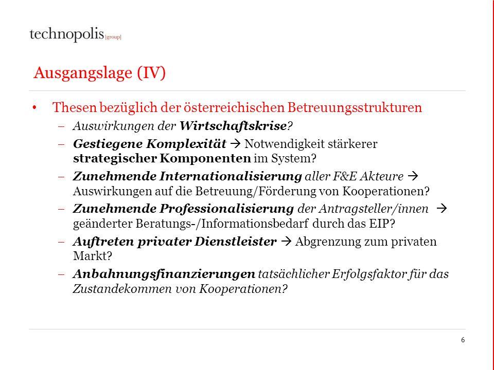 Ausgangslage (IV) Thesen bezüglich der österreichischen Betreuungsstrukturen Auswirkungen der Wirtschaftskrise? Gestiegene Komplexität Notwendigkeit s