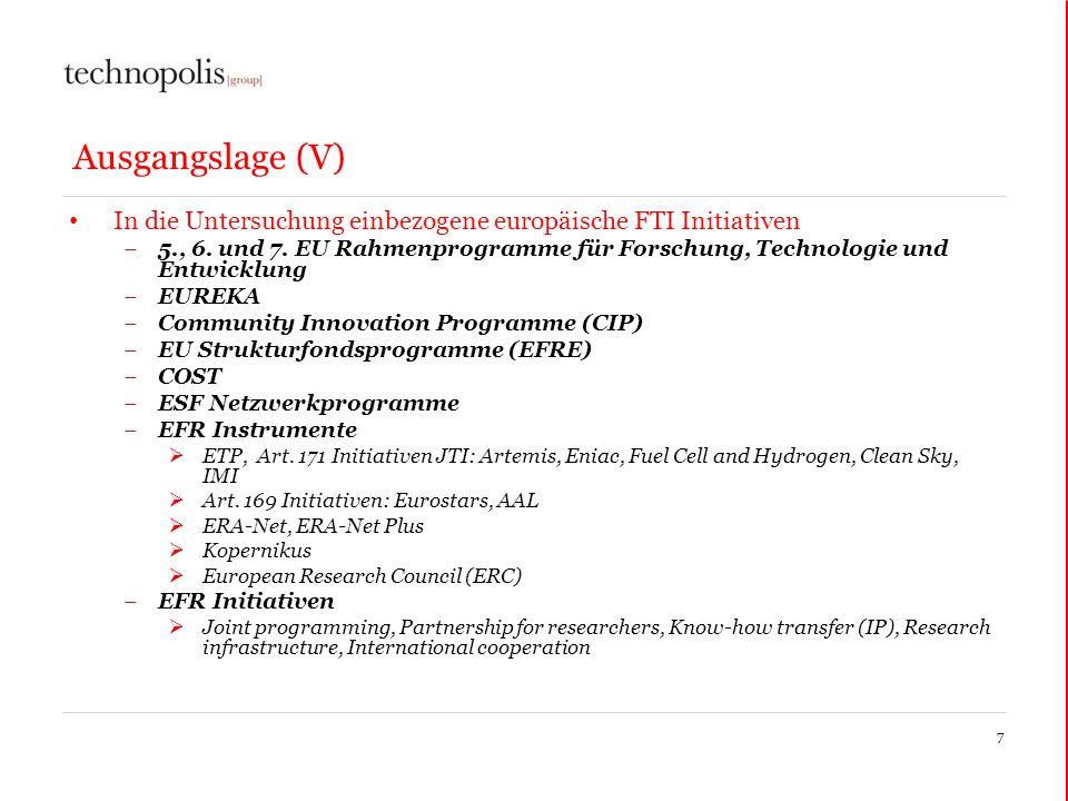 Ausgangslage (V) In die Untersuchung einbezogene europäische FTI Initiativen 5., 6. und 7. EU Rahmenprogramme für Forschung, Technologie und Entwicklu