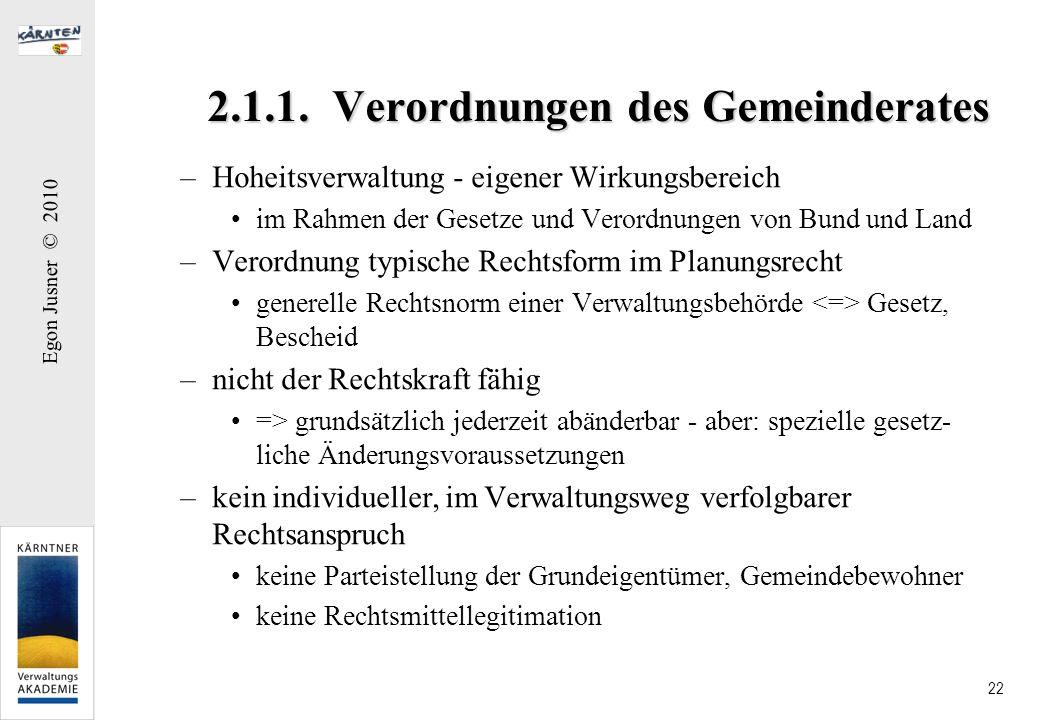 Egon Jusner © 2010 22 2.1.1. Verordnungen des Gemeinderates –Hoheitsverwaltung - eigener Wirkungsbereich im Rahmen der Gesetze und Verordnungen von Bu